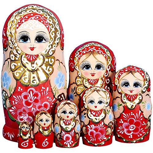 YAKELUS professionelle Matrjoschka-Marke 7 Stücken Matroschka, Matruschka, Matrjoschka,Russian Nesting Dolls,7-tlg handgemacht Das Lindenholz Geschenk Spielzeug 7022