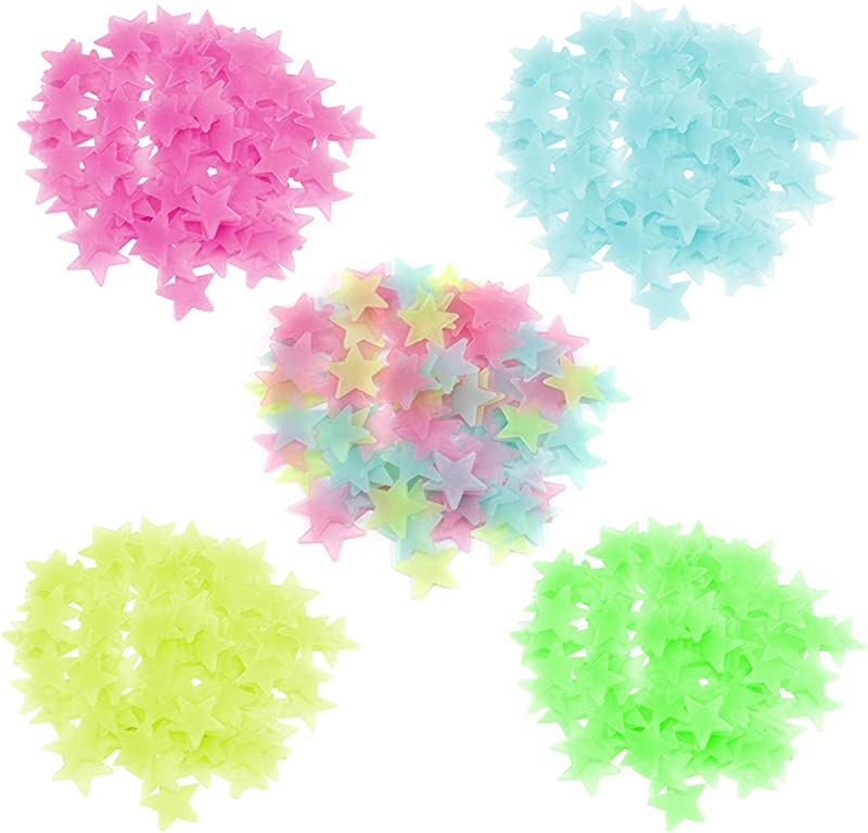 VIIRY 500PCS Colorful Glow In The Dark Stars Stickers For Ceiling And Wall Decals Perfect For Kids Babys Bedroom Decorations Or Party Birthday Gift 3CM