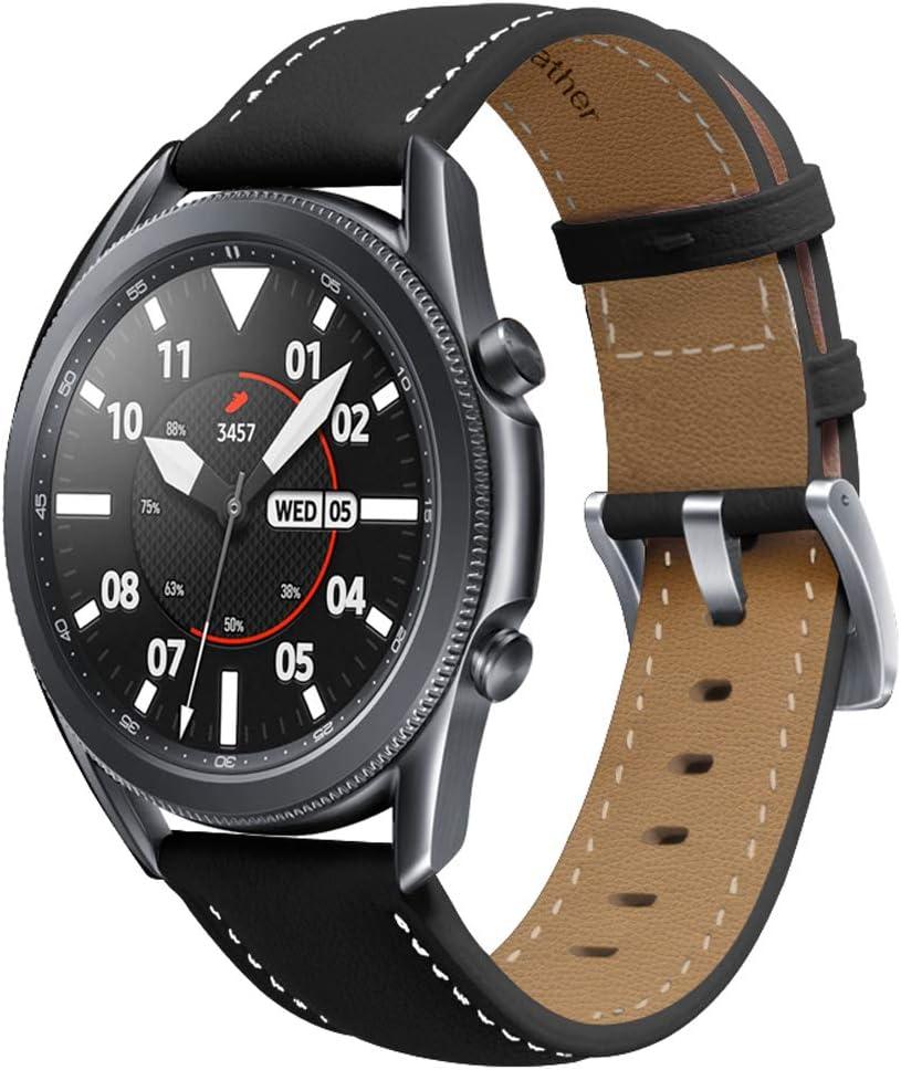 Miimall Pulsera de Reloj Compatible con Samsung Galaxy Watch 3 41mm, Cuero Premium Ajustable Correa de Respuesto de Reloj para Samsung Galaxy Watch 3 41mm - Negro