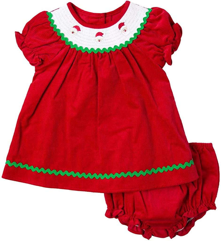Good Lad Newborn/Infant Girls Red Corduroy Dress with Smocked Collar and Matching Corduroy Panty