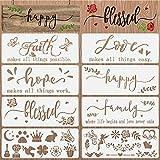 OOTSR 10 Piezas Plantillas para Pintar de Palabras Inspiradoras Plantillas Stencil Manualidades Plantillas para Pintar Reutilizables para Muebles Pared Madera Decoración DIY Scrapbooking