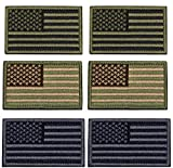U-LIAN 6 PCS USA Flag Patch Tactical Morale Patch Embroidered American Flag Patch Hook Loop Fastener Backing Emblem,2 PCS Army Green+2 PCS Multitan+2 PCS Silver Grey