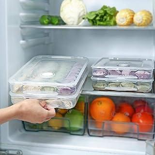 3pcs Plastic Food Storage boxes, Stackable Fridge Freezer Crisper Storage Box, Stack Food Container Tray Organizer 3 Layer...
