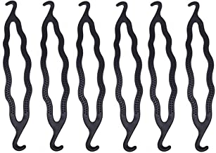 6PCS Black 8.5inch x 1.5inch Plastic Double Ended Bun Maker Shaper Curler/Hair Holder Clip Magic Roll Bun Hair Twist Braiding Tool Hair Styling Accessories for Women Lady Girls
