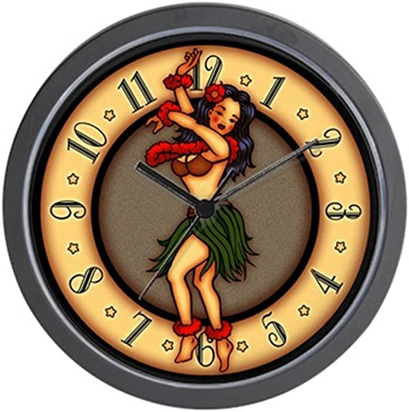 CafePress Retro Hula Tattoo Art Unique Decorative 10 Wall Clock