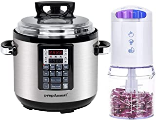 prepAmeal 8-IN-1 6QT Electric Pressure Cooker Multi-Use with Non-Stick Coating Stainless Steel Inner Cooking Pot & 2-Cup Electric Mini Food Chopper with 2-Speed, 260-Watt, BPA-Free, Dishwasher Safe