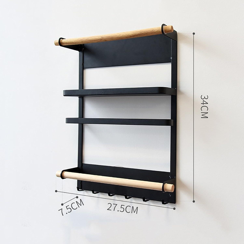 Japanese-Style Simplicity Iron Refrigerator Side Pylons,Refrigerator Rack Side Wall Mount, Kitchen Storage Shelf,Bathroom Shelf,Suitable for Bathroom, Living Room, Kitchen. (color   Black)