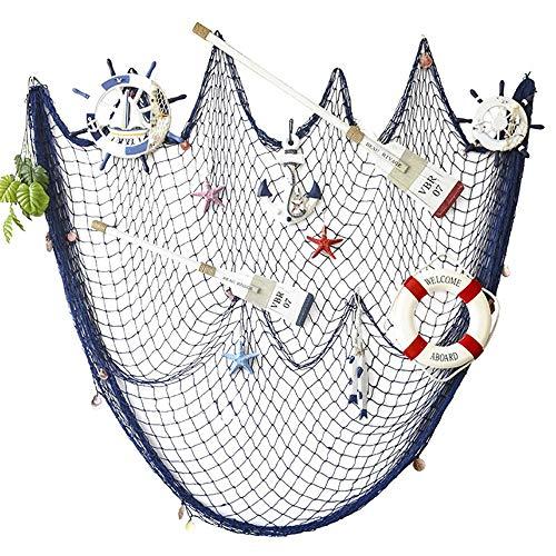 AOFOX - Red azul de pesca decorativa de estilo mediterráneo con conchas, azul, 2M x 4M