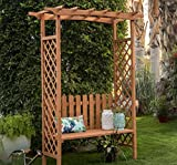 Traditional Outdoor 6.9-ft. Wood Arbor with Bench 60L x 47W x 83H in. Warm Brown Finish ( Assembly Required /Bench weight capacity 250 lbs.)