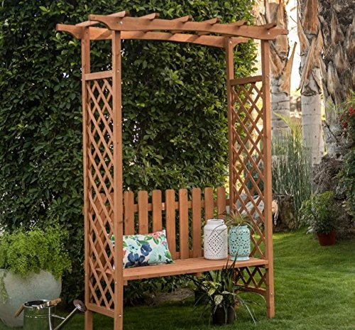 Traditional Outdoor Wood Arbor with Bench