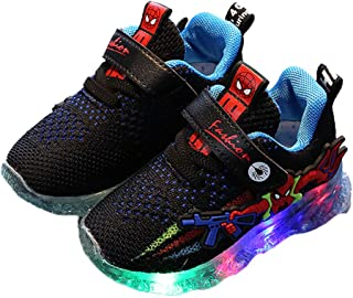 Hopscotch Baby Boys and Baby Girls PU Fixed Lace LED Sneakers in Blue Color