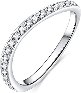 CZ Wedding Band for Women 925 Sterling Silver Half Eternity Stackable Ring Size 4-10