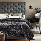 Chanasya Fuzzy Faux Fur Bed Throw Blanket - Soft Light Weight Blanket for Bed Couch and Living Room Suitable for Fall Winter and Spring (Queen) Gray
