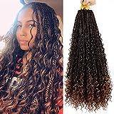 Mytarku 7 Packs Box Braids Crochet Hair 20 inch Box Braids Crochet Braids with Curly Ends 3X Synthetic Braiding Hair Extension (20 Inch,T30)