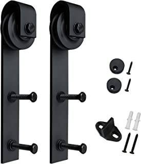 SMARTSTANDARD Sliding Barn Door Hardware Hangers 2pcs (Black) (J Shape Hangers)