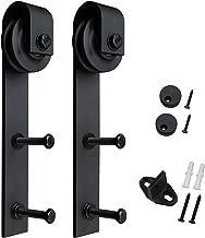 SMARTSTANDARD Sliding Barn Door Hardware Hangers 2pcs (Black) (J Shape Hangers)