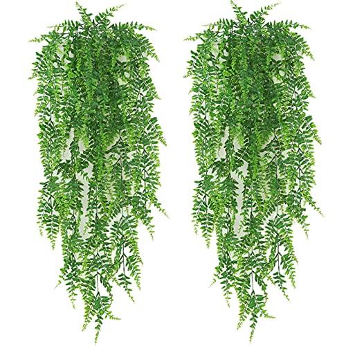 2 Stück 1,22m Künstlich Pflanzen Hängend Hängepflanzen Künstliche Kunstpflanze Farn grüne Blätter Grünpflanzen Plastikpflanzen Persian Kletterpflanzen für Draußen Balkon Wand Hochzeit Garten Deko