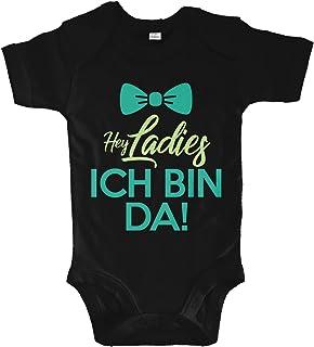 net-shirts Organic Baby Body mit Hey Ladies ICH Bin DA Aufdruck Spruch lustig Strampler Babybekleidung aus Bio-Baumwolle mit Zertifikat
