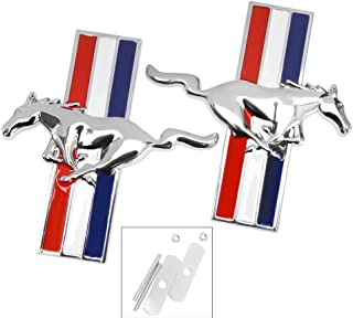 Grille Emblem Badge Stickers Tri Bar for Ford Mustang Running Horse Chrome Pony Left and Right Metal Emblems (2Pcs)