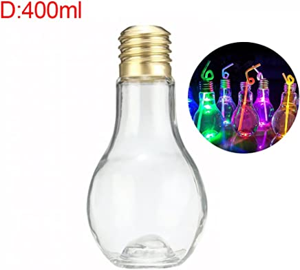Catinbow Creative Light Bulb Fashion Leak-Proof Beverage Bottle Milk Juice Bulb Cup - Random Color Light (D:400ml with Light)