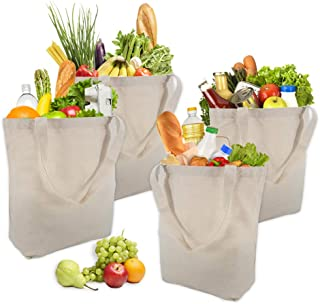 4 Pack Reusable Grocery Canvas Tote Bags, Cotton Shopping Vegetable Bags, Natural Eco-friendly Craft Canvas Bag with Handles - Heavy Duty, Washable, Durable Handles, Foldable
