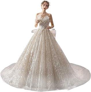 Lyxig bröllopsklänning brud kvinnlig fransk svans stjärnklar tunn damer bröllopsklänning cocktailparty kvällsklänning, LIFU