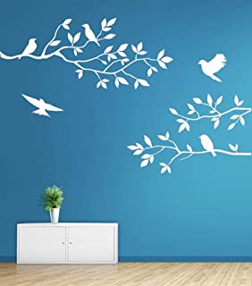 Mix Decor Branch Wall Decal - Birds Trees Wall Sticker Family TV Background Removable Vinyl Mural Wallpaper for Livingroom Kid Baby Nursery Room DIY Decoration Gift 28x20 Inch,White