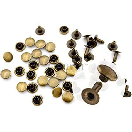 Double Cap Rivet Leathercraft Rivets Gold Silver Copper Nickel Tubular Metal Leather Craft Repairs Mix Studs Punk Spike Decoration/£/¨Pack of 200