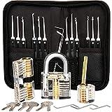 Bcamelys 26 Stück Lockpicking Set,Dietrich Set mit 3 Transparenten Übungsschlössern für Anfänger und Professionelle Lockpicker