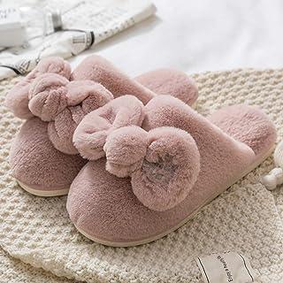 Zapatillas De Casa Para Mujer,Moda Invierno Zapatillas De Felpa Suave Cartas Pink Bow Antideslizante Zapatillas De Algodón Cálido Y Transpirable Para Interiores Dormitorio Mute Home Zapatos Planos
