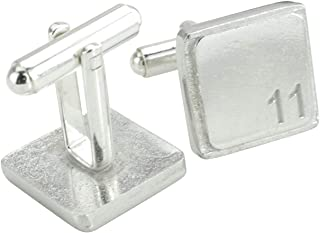 Square Cufflinks with '11' Engraved - 11th Anniversary