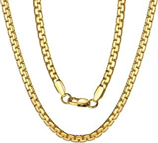 4/6MM Round Box Link Chain Necklace, Engraved, 18/20/22/24/26/28/30 inches, 18K Gold Plated/316L Stainless Steel//Black (with Gift Box)