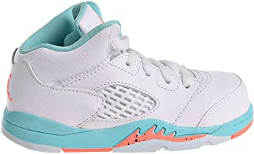 NIKE Jordan 5 Retro Kids TD White/Crimson Pulse-Light Aqua 725172-100 (Size: 10C)