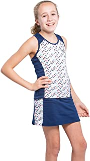 Girls Tennis Dress Set with Racerback Top and Tennis Skirt with Undershorts