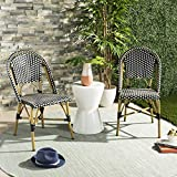 Safavieh FOX5210H-SET2 Collection Salcha Black, White Light Brown Indoor/Outdoor French Bistro Stacking Side Chair
