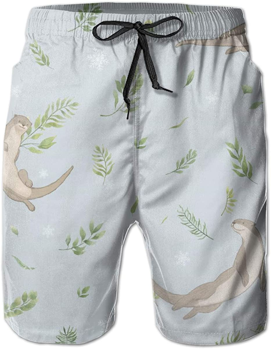 Men's Selling rankings 100% Reservation Polyester Playful Sea Tr Otter Snowflakes Swim Leaves