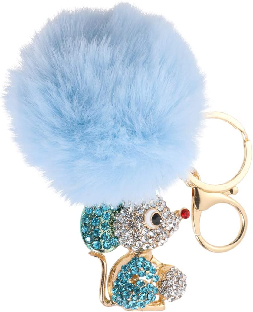 Amosfun Mouse Rat Keychain Keyring with Pompom Ball Rhinestone Keyring Alloy Chinese Zodiac Charms Keychain Happy Lunar New Year Party Gifts for Kids Woman (Sky Blue)