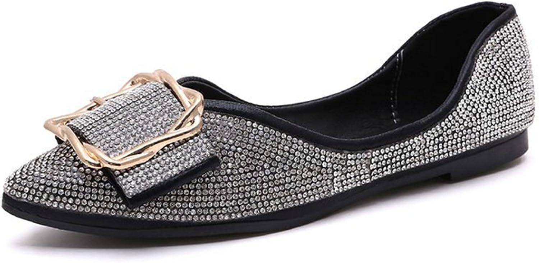 Women's Fashion Rhinestone Ballet Flats Pointed Toe Metal Buckle Walking shoes Slip On Loafers