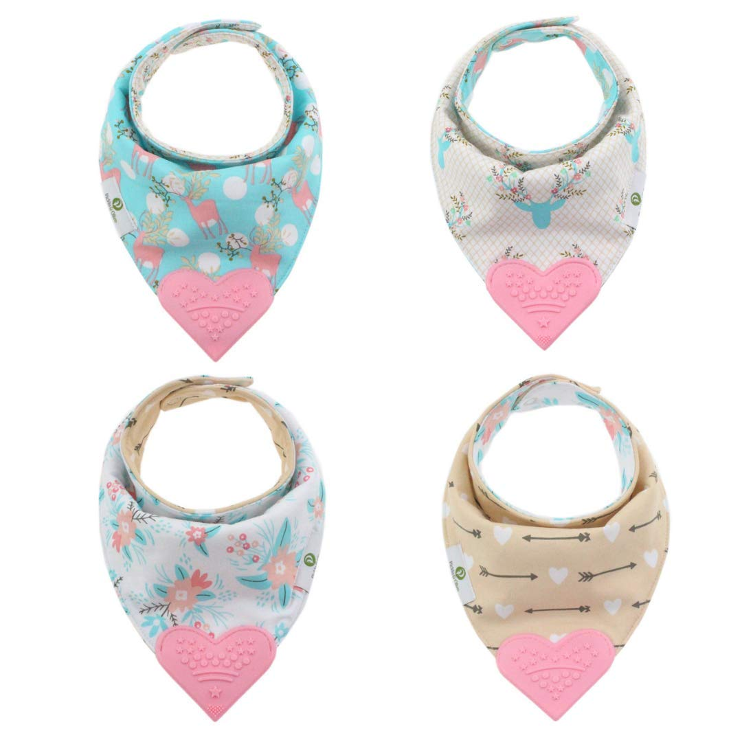 Reversible Branded goods Max 46% OFF Baby Teething Bibs - Pink Teether Heart Bo Attached