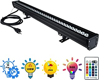 Wall Washer LED Lights, 108W RGBW Color Changing LED Strip Lights with RF Remote,120V, 3.2ft/40