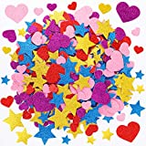 Qpout Bulk 300pcs Valentine's Day Colorful Glitter Stickers, Mini Heart Star Self-Adhesive EVA Foam Sticker for Kids DIY Craft Gifts Scrapbook,Cards Making Decor,Valentine's Day Party Supplies Decor