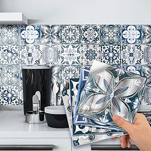 Pegatinas de azulejos para cuarto de baño y cocina, 20 piezas autoadhesivas de Mosaico, azulejos de pared, impermeable, papel de azulejos, bricolaje para decoración del hogar (10 x 10 cm)