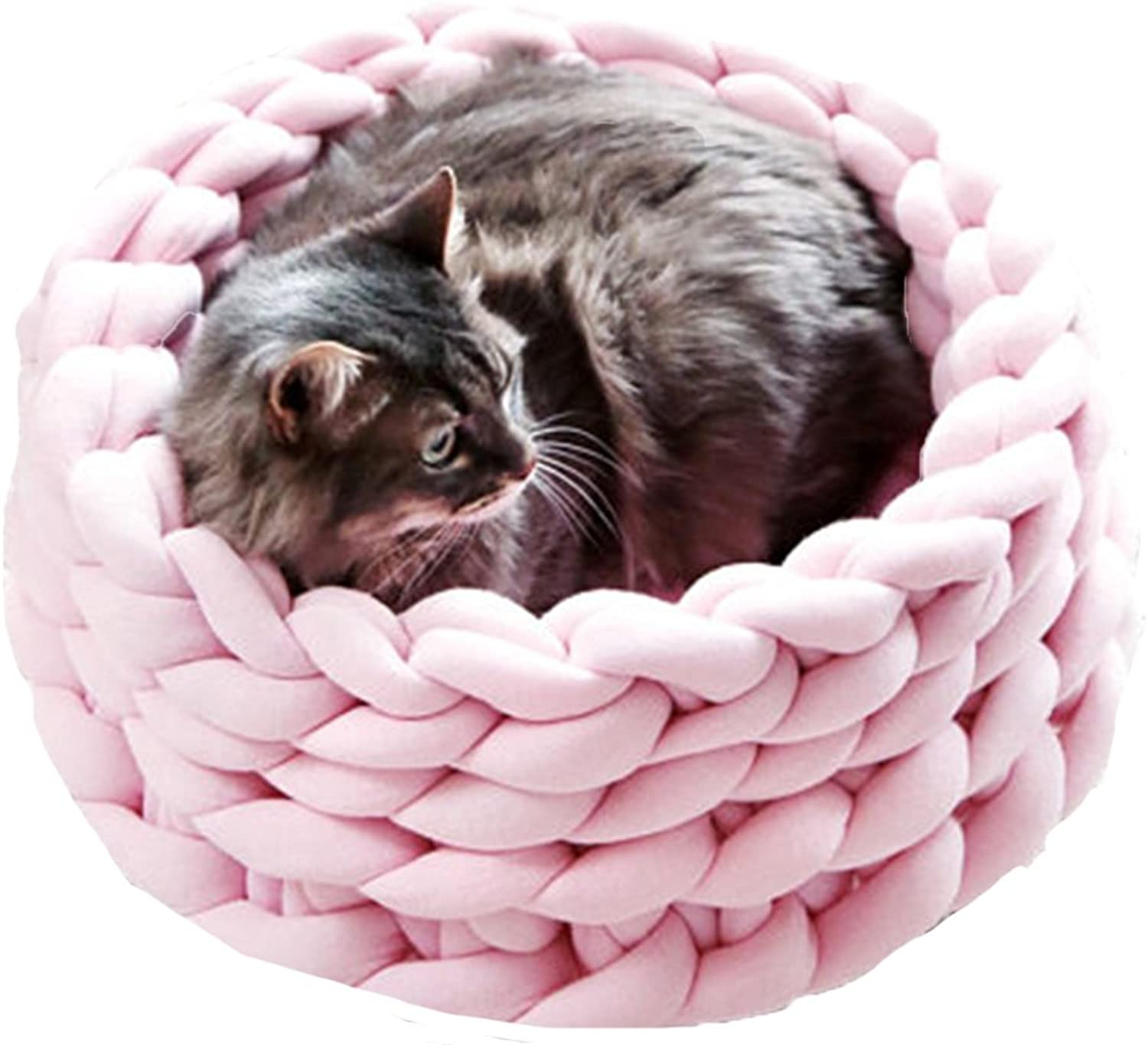 Braid Cat Cave Handmade Cozy Kitten Bed Chunky Knitting Pet Bed Light Pink Kitty House Diameter 14 inch
