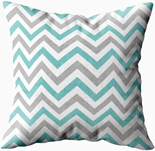 Capsceoll Gray Chevron Aqua Grey Decorative Throw Pillow Case 20X20Inch Home Decoration Pillowcase Zippered Pillow Covers Cushion Cover With Words For Book Lover Worm Sofa Couch