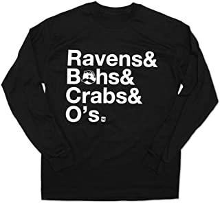 Route One Apparel - Ravens & Bohs & Crabs & O's Helvetica Black Long Sleeve Shirt with Natty BOH Logo