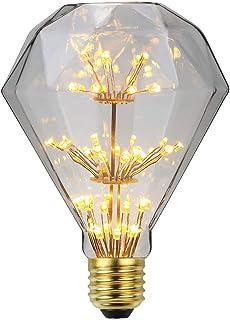 TianFan - Bombilla LED estilo vintage con luz estrellada RGB para fuegos artificiales, luz decorativa, luz cálida E27, 220 / 240 V, vidrio, Diamond, E27