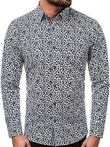 OZONEE Herren Hemd Freizeithemd Shirt Langarm Tailored Fit Flanellhemd Langarmhemd Langärmliges Slim Fit Freizeit Business Männer Jungen Trachtenhemd V/K71 WEIß XL