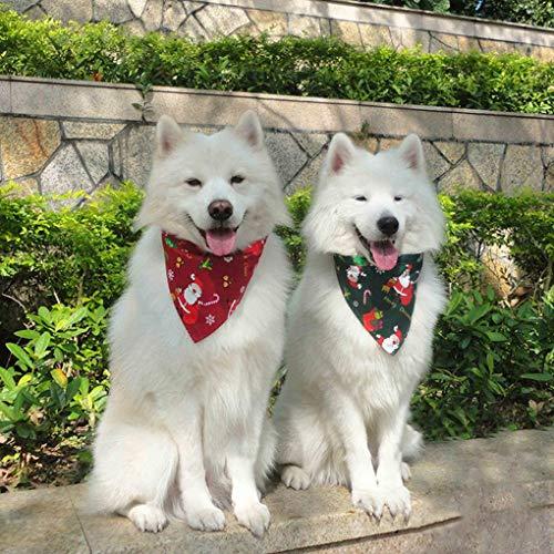 IPENNY - Turbante para animales de compañía, cuatro estaciones para perro, turbante ajustable, babero triángulo para animales de compañía, bufanda de algodón de Navidad + sombrero