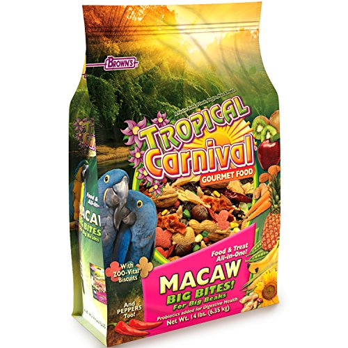 F.M. Browns Tropical Carnival Gourmet Macaw Food Big Bites for Big Beaks, Vitamin-Nutrient Fortified Daily Diet with Probiotics for Digestive Health - 14lb
