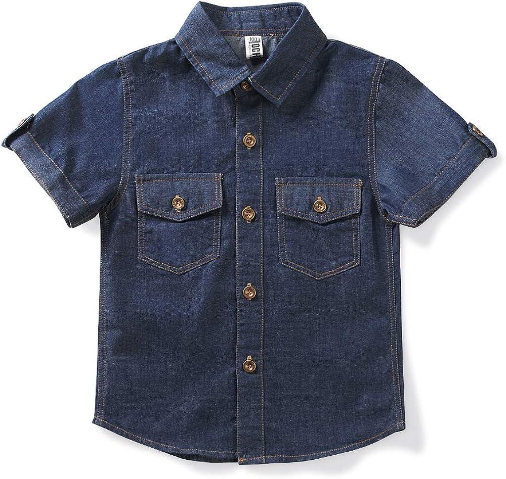 Mesinsefra Boys' Short Sleeve Denim Button Down Lightweight Shirt Summer